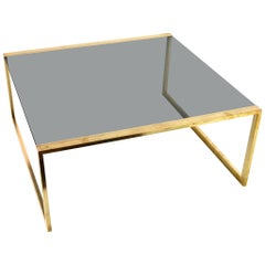 Italian Square Brass Coffee Table, 1970s