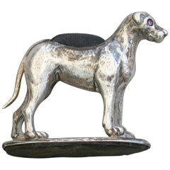 Edwardian Novelty Silver Fox Hound Pin Cushion by Adie & Lovekin, Chester, 1909