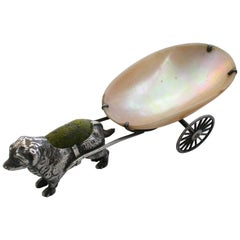 George V Novelty Silver Dog Pulling a Cart Pin Cushion by Adie & Lovekin, 1922