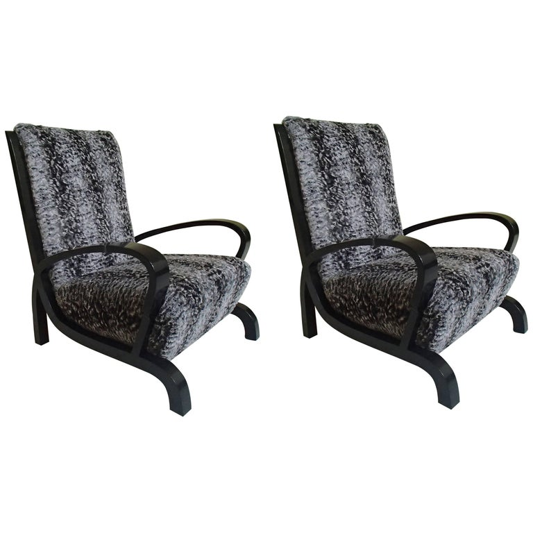 Bauhaus Pair of Armchairs Black Wood and Faux Fur Astrakhan New Recovered Seat For Sale