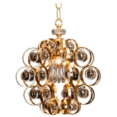 1960s, Gilded Brass Murano Glass Chandelier by Palwa
