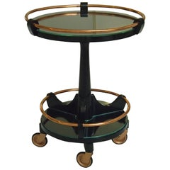 Art Deco Round Small Bar Drinking Trolley Black and Copper