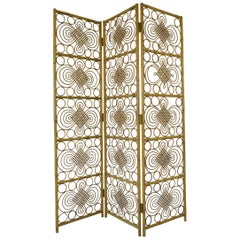 Original Midcentury Rattan Three-Fold Screen