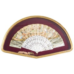 Antique French Hand-Painted Mother-of-Pearl Fan, 19th Century