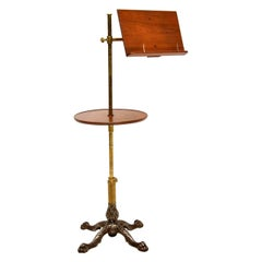 Antique Victorian Mahogany and Brass Reading Table