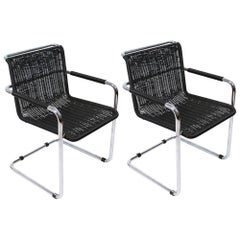 Pair of Bauhaus Cantilever Black Armchairs by Tecta Germany