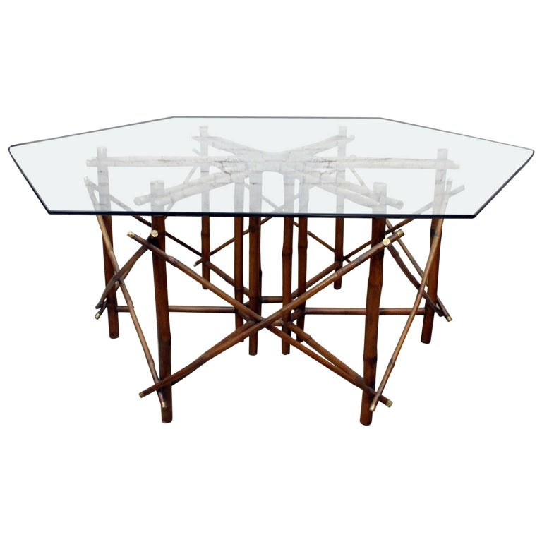 1960s John Wisner for Ficks Reed Bamboo, Brass and Glass Dining Table