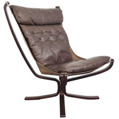 Vintage 1970s High Back Brown Leather Falcon Chair Designed by Sigurd Resell