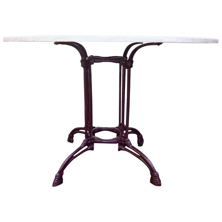 Wrought iron Art Nouveau Garden Table, Travertine Marble Top, France, circa 1900
