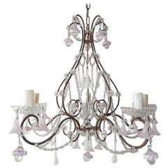 French Light Pink Flowers Opaline Murano Drops Chandelier, circa 1920