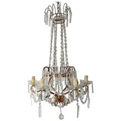 French Crystal Stars Basket with Spear Chandelier