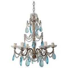 French Aqua Blue Crystal Prisms Murano Glass Chandelier, circa 1920