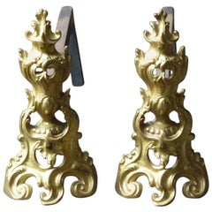 18th Century French Bouhon Frères Ormolu Andirons