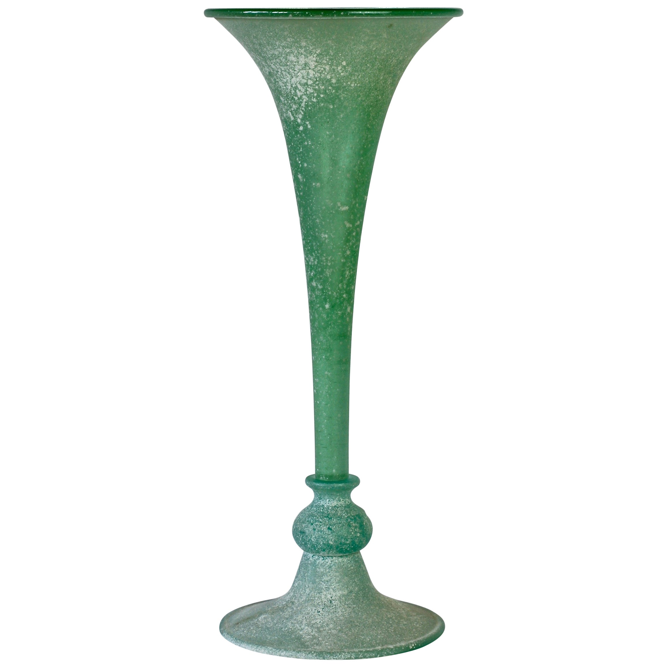 Tall Green 'A Scavo' Murano Glass Fluted Vase Attributed to Seguso Vetri d'Arte