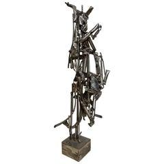 Albert Feraud Brutalist Mid-Century Modern Metal Sculpture, France, 1960s