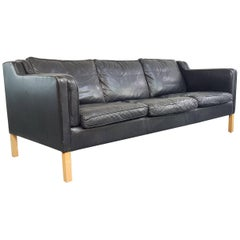 Vintage Midcentury Danish Mogensen Style Three-Seat Sofa Made by Stouby in Black
