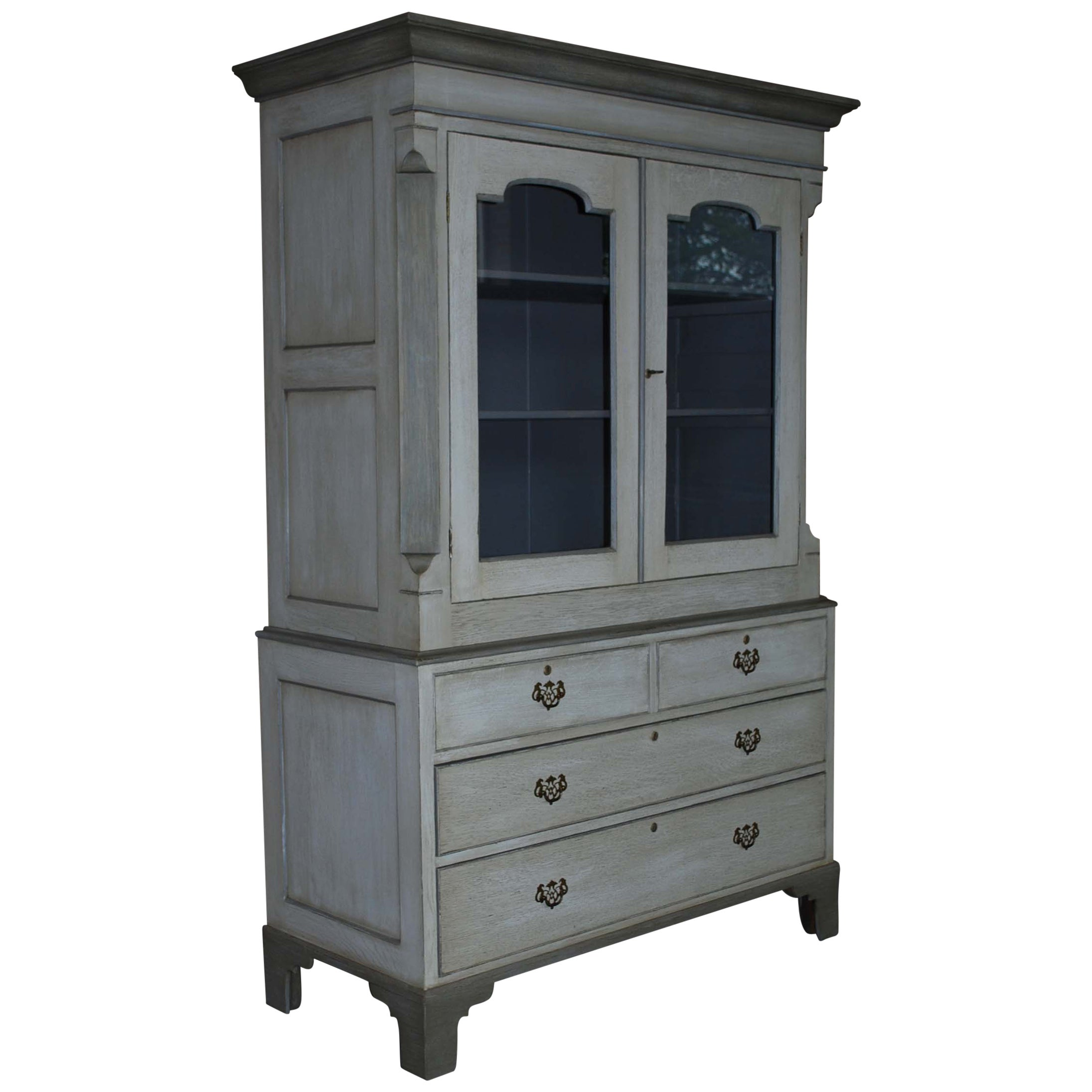 19th Century Painted Oakwood Kitchen Cabinet