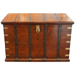 Antique Teak Merchants Trunk with Iron Straps and Brass Corners