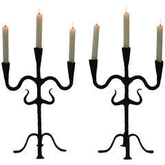 Pair of 18th Century Hand-Forged Iron Candleholders