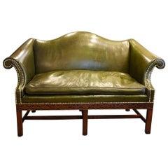 Edwardian Mahogany Camel Back Chippendale Style Sofa