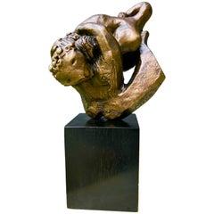 Midcentury Signed Bronze Man Wrestling Lion