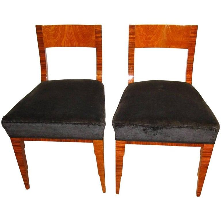 Pair of Art Deco Chairs, Makassar and Ash, France circa 1930