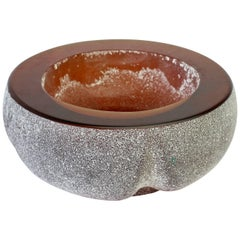 Large Seguso Vetri d'Arte Amber 'a Scavo' Murano Glass Bowl, circa 1970s
