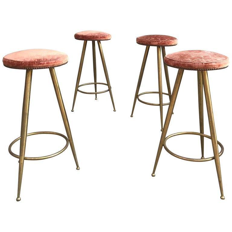 Set of Four Brass Bar Stools Gio Ponti Style