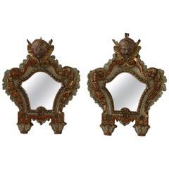 Pair of 18th Century, Italian Baroque Angel Head Mirrors