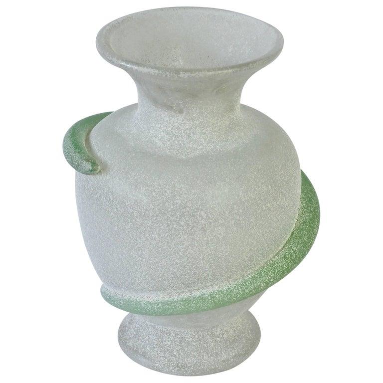 Seguso Vetri d'Arte White 'a Scavo' Murano Glass Vase by Vittorio Rigattieri