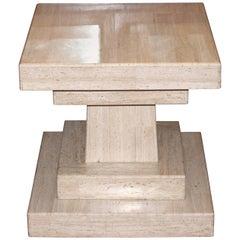 Vintage Midcentury Travertine Marble Modernist Villency Side Pedestal Table