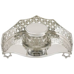 1890s Victorian Sterling Silver Inkstand