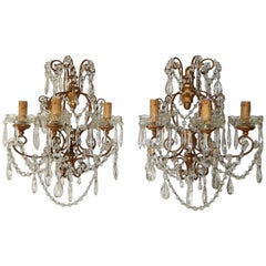 1900 French Baroque Gold Gilt Three-Light Crystal Sconces