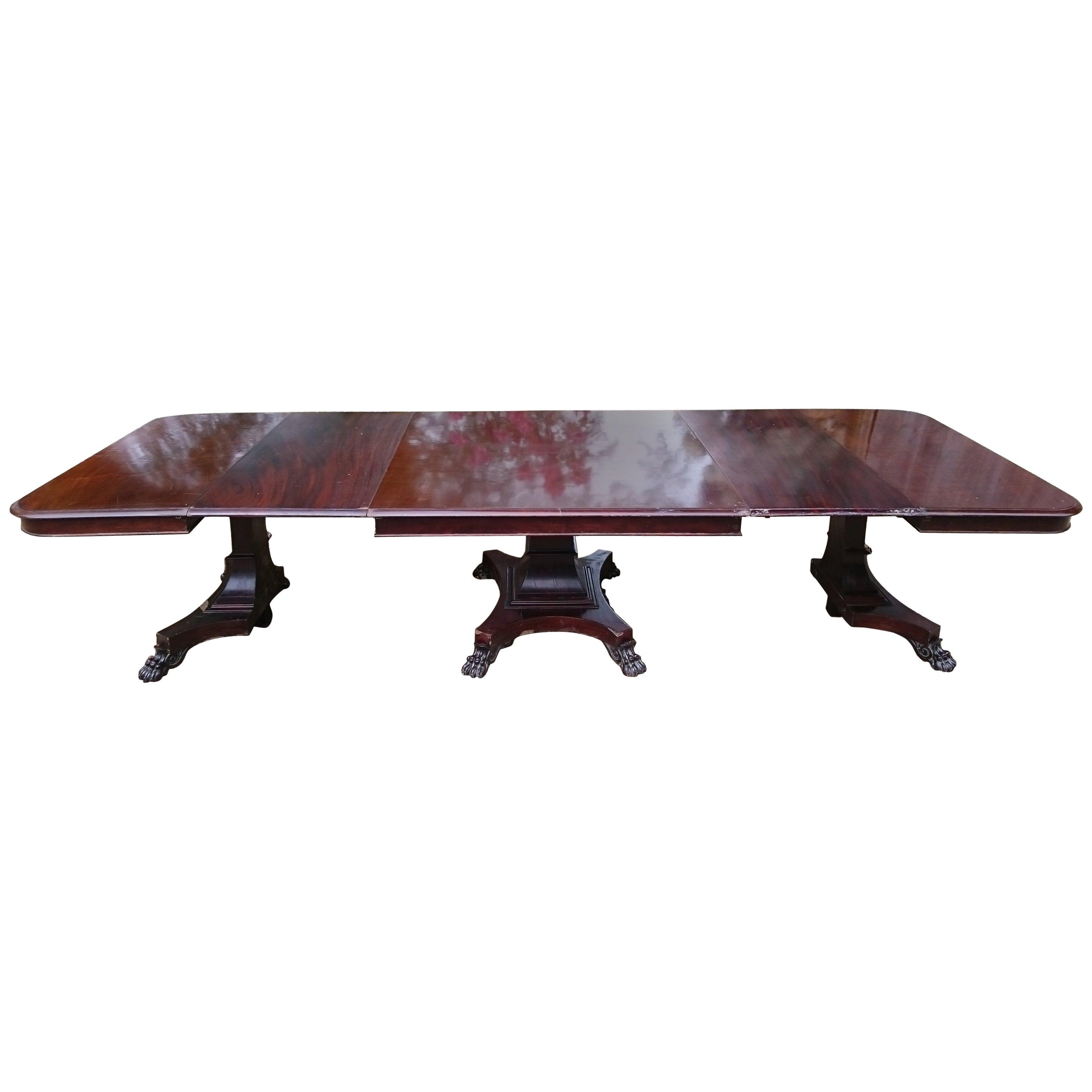 19th Century Mahogany Three Pedestal Dining Table