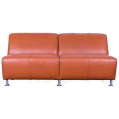 De Sede Leather Sofa Brown Two-Seat Couch
