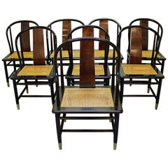 Set of Eight Midcentury Asian Modern Henredon Lacquered Dining Chairs
