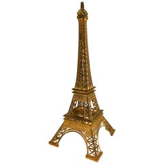 Eiffel Tower Paris France Gilt Metal Display Model Souvenir