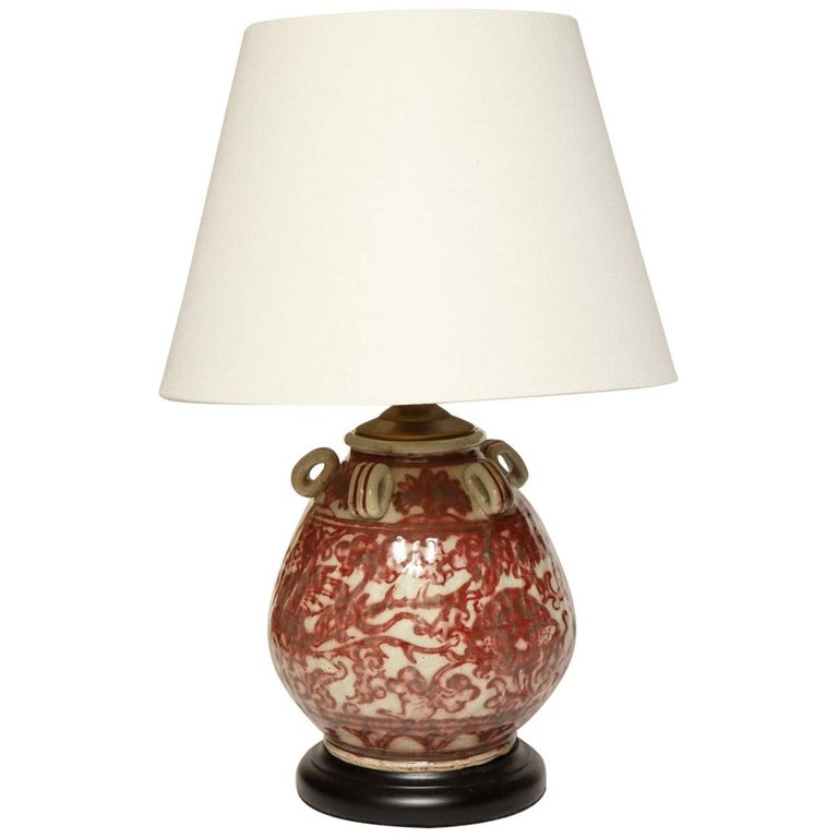 Chinese Earthenware Vessel Fitted as a Lamp For Sale