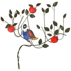 C. Jeré Bird in a Tree Enameled Wall Sculpture