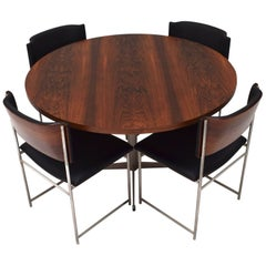 Round Brazilian Rosewood Dining Set by Cees Braakman for Pastoe, circa 1950