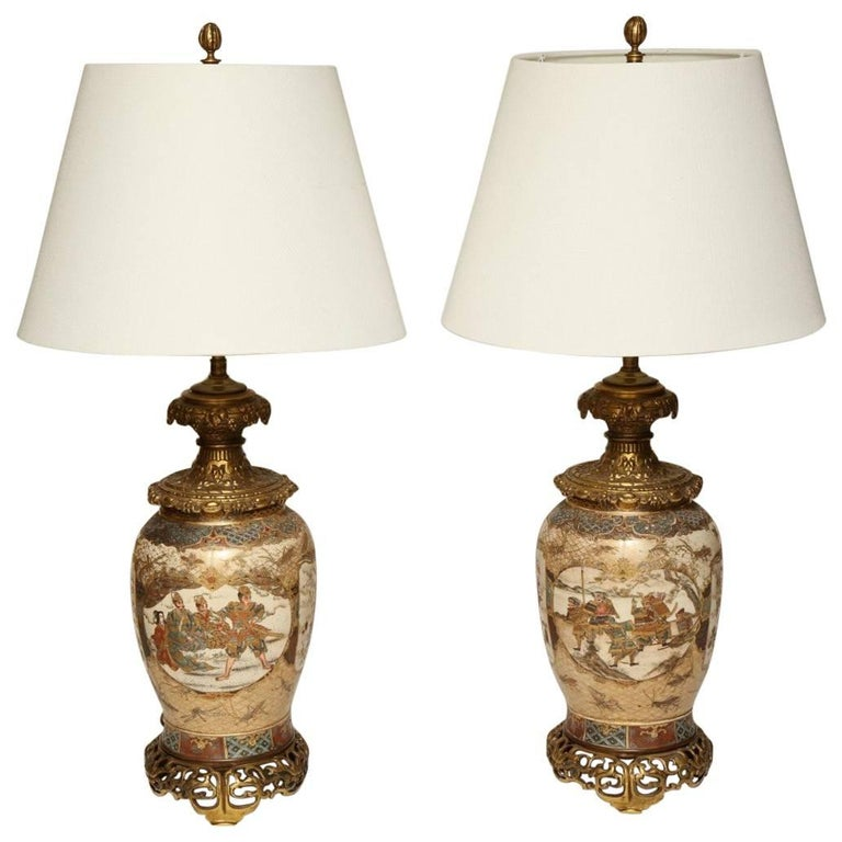 Pair of Japanese Bronze-Mounted Satsuma Table Lamps