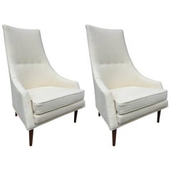 Pair of Paul McCobb High Back Club Chairs or Slipper Chairs