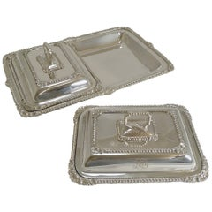 Pair of Antique English Entree Dishes in Tray by James Dixon, circa 1890-1900