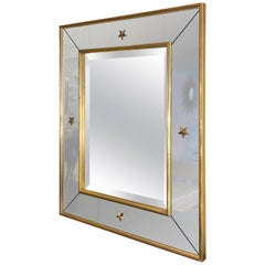 Art Deco Rectangular Mirror with Brass Stars Decoration and Smoked Mirror Frame