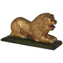 19th Century Carved and Gilded Lion from a Frisian Ships Rudder