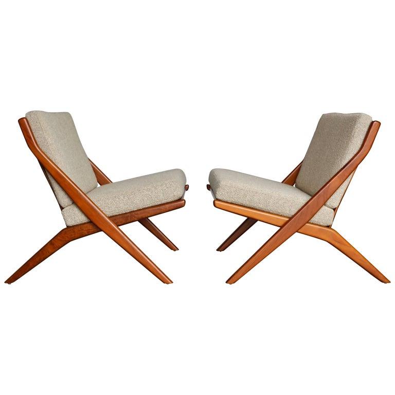 "Teak "" Scissor "" Lounge Chairs by Folke Ohlsson for DUX"