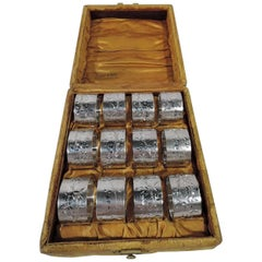 Set of 12 Gorham Aesthetic Japonesque Sterling Silver Napkin Rings