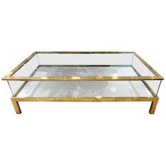 Maison Jansen 1970s Brass and Glass Coffee Table