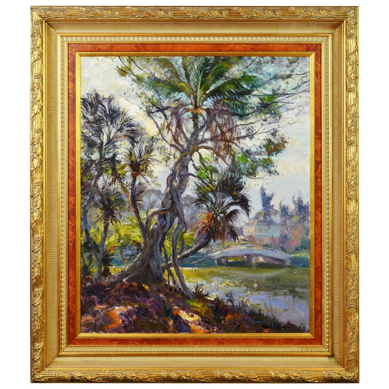 'Tropical Naples View' Original Largew Florida Oil Painting by Robert C. Gruppe
