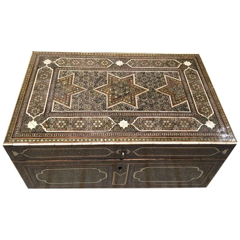Beautiful 19th Century, Qajar Khatem Kari Wooden Box, Iran